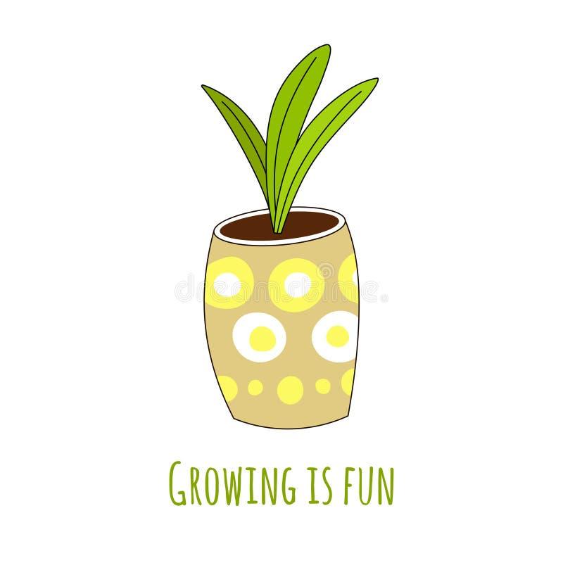 在一个手拉的样式的逗人喜爱的室内植物与题字生长是乐趣图片