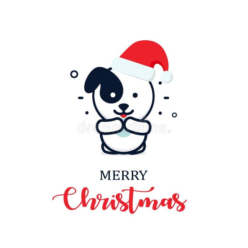 在一个新年帽子的逗人喜爱的小狗 圣诞节字符例证 新年传染媒介minimalistic商标 皇族释放例证