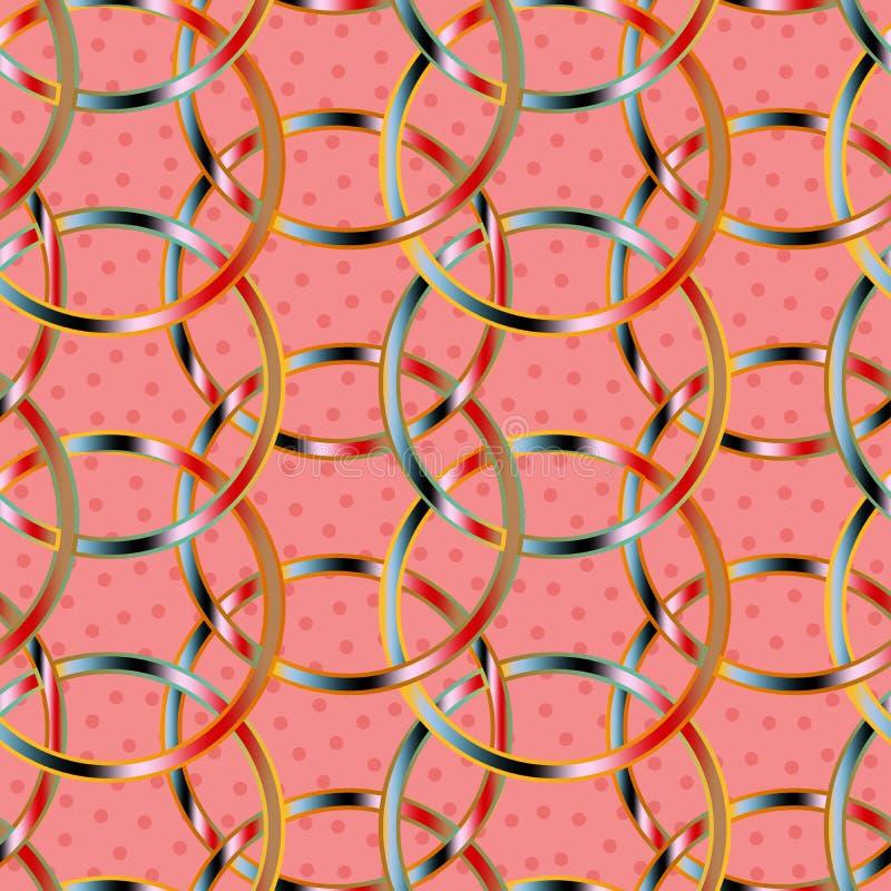 在一个无缝的样式瓦片的五颜六色的被互联的圈子在织地不很细桃红色背景 向量例证