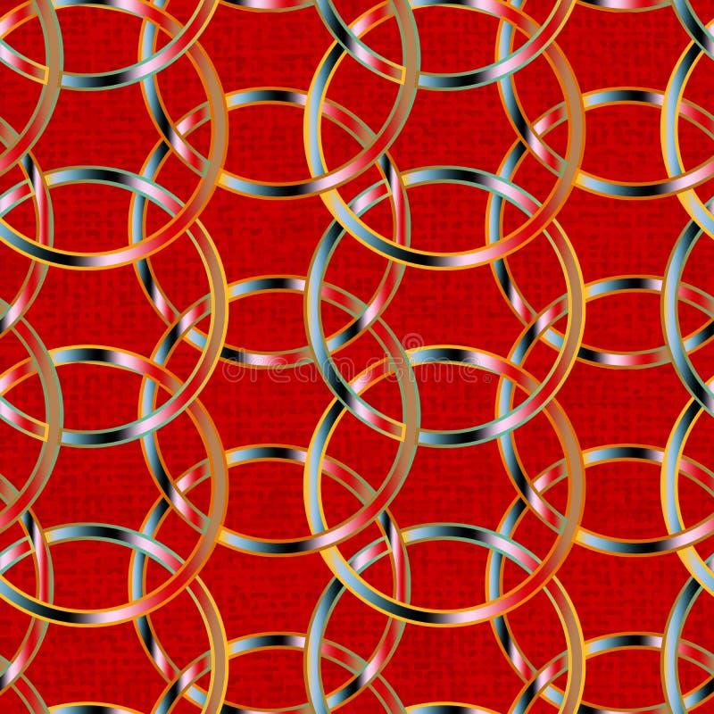在一个无缝的样式瓦片的五颜六色的被互联的圈子在脏的织地不很细红色背景 皇族释放例证