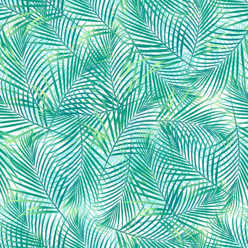 在一个无缝的样式的热带棕榈叶在白色背景 皇族释放例证