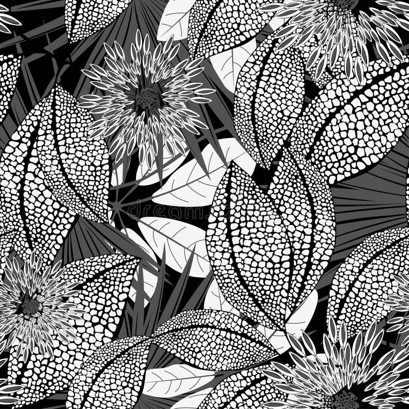在一个无缝的样式的热带黑白被察觉的花 库存例证