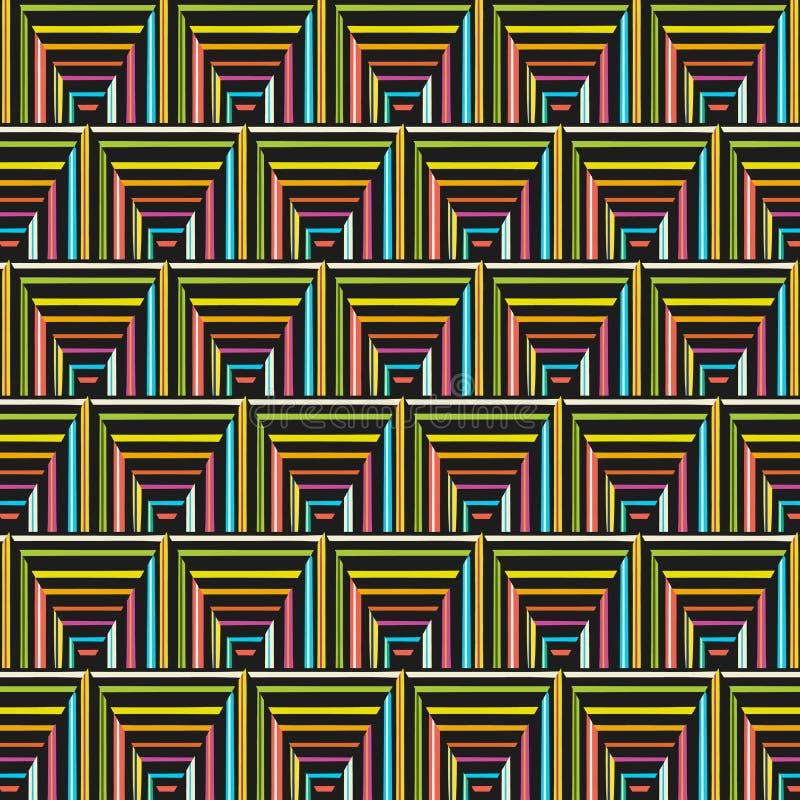 在一个无缝的样式的现代五颜六色的镶边三角 向量例证
