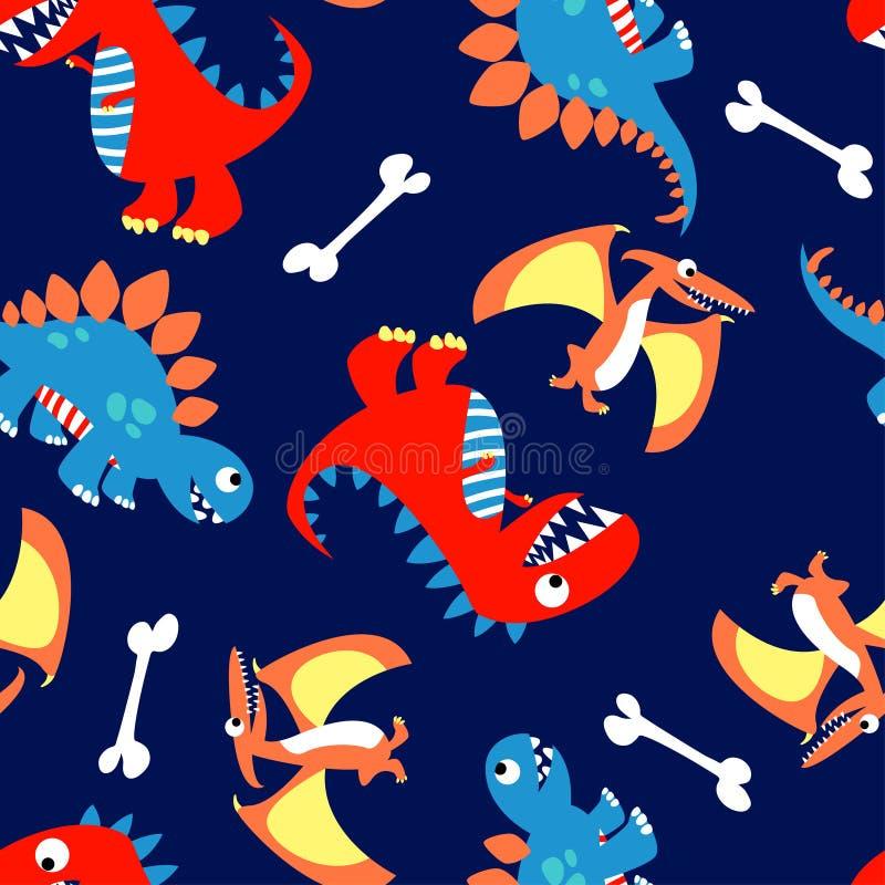 在一个无缝的样式的3逗人喜爱的恐龙 库存例证