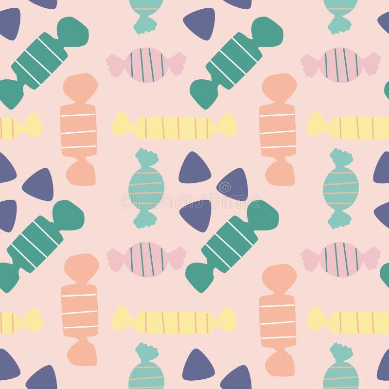在一个无缝的样式设计的五颜六色的糖果 皇族释放例证
