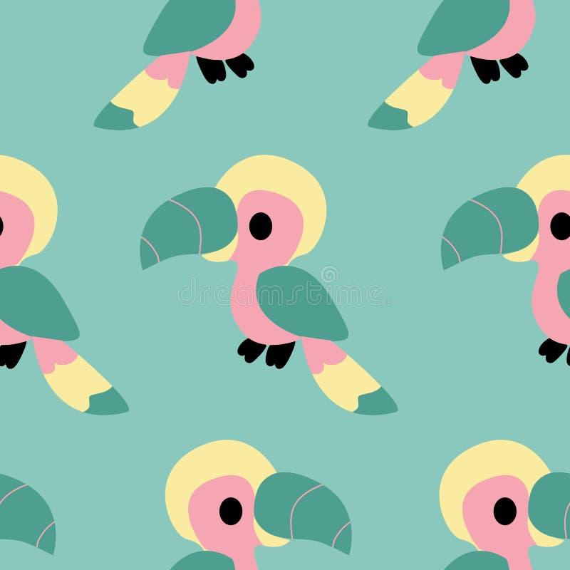 在一个无缝的样式设计的五颜六色的鹦鹉 皇族释放例证