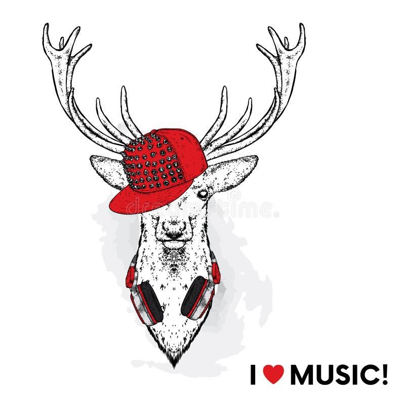 在一个时髦的盖帽的一头美丽的鹿有钉的 与耳机的鹿 导航明信片或海报的例证 库存例证