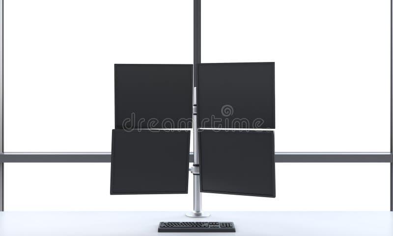 在一个明亮的现代露天场所全景办公室包括四个屏幕的一位现代贸易商的工作场所或驻地 白色拷贝s 皇族释放例证