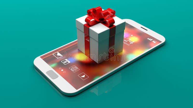 在一个智能手机的礼物盒在绿色背景 3d例证 库存例证