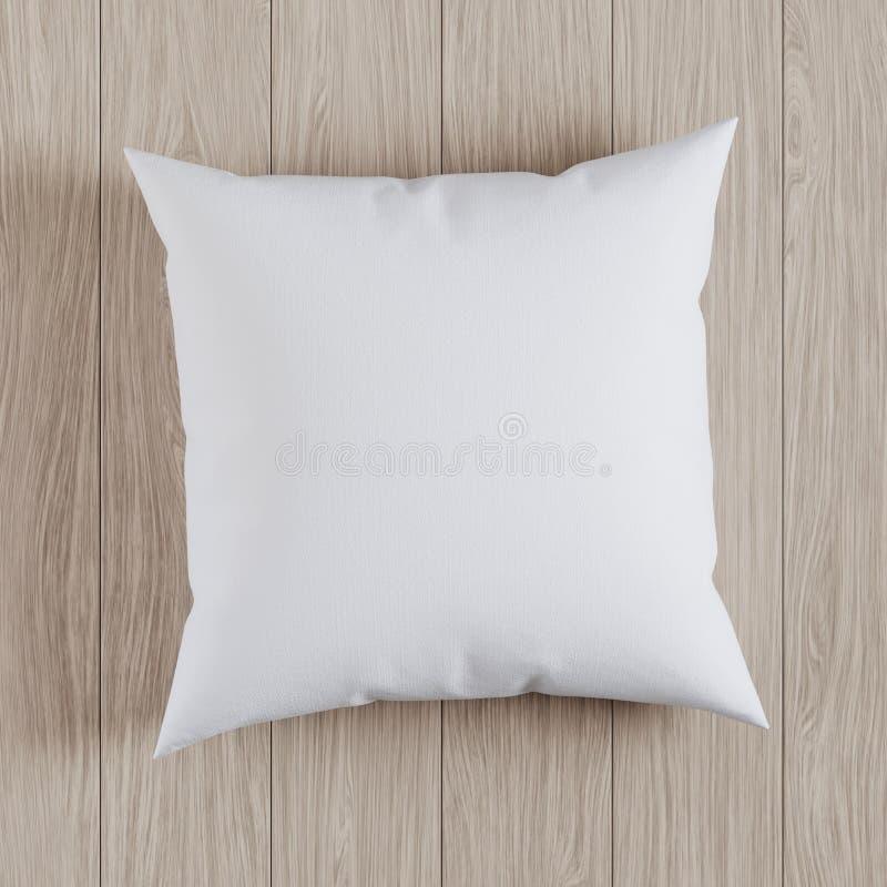 在一个木地板上的空白的白色软的方形的枕头, 3D回报 库存例证