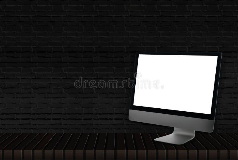 在一个木地板上的计算机与黑砖地板和室内装饰的实体木材 免版税库存照片