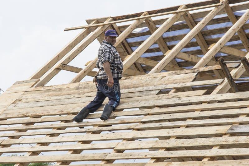 在一个木屋顶的人工作 免版税库存图片