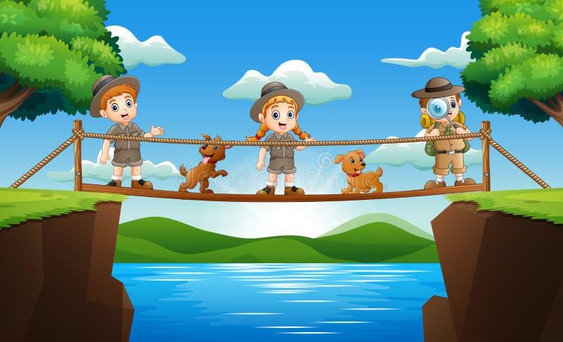 在一个木桥的三位动物园管理员身分 皇族释放例证