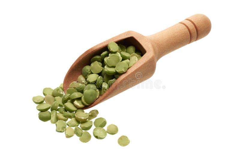 在一个木瓢的干绿豆 免版税库存图片
