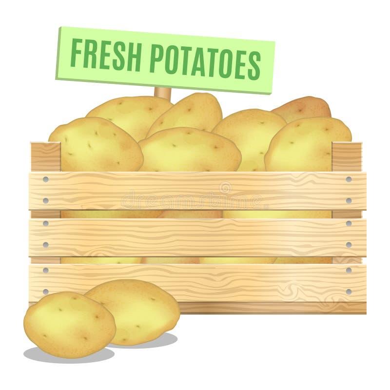 在一个木箱的新鲜的土豆在白色背景 向量 皇族释放例证