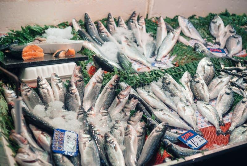 在一个柜台的新鲜被捉住的海鱼在鱼市上,伊斯坦布尔 库存图片