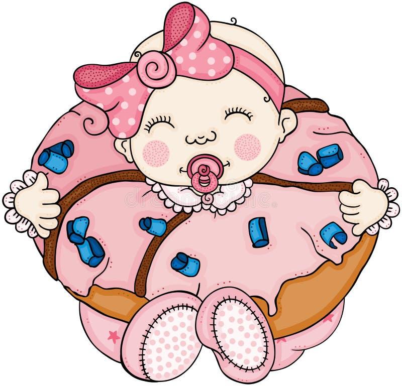 在一个桃红色多福饼里面的女婴 库存例证