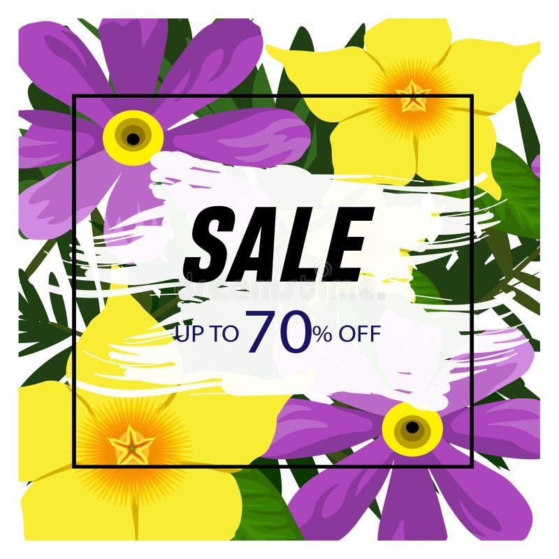 在一个框架的花卉背景与70%折扣 E 大销售特价 特价横幅为 向量例证