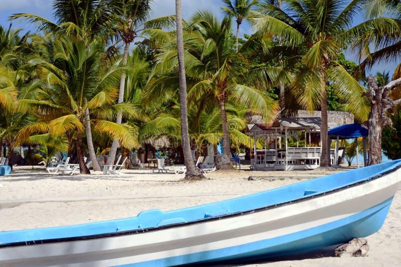 在一个沙滩的大白色小船特写镜头与绿色棕榈树、sunbeds放松的和一个眺望台在一温暖的好日子 库存图片