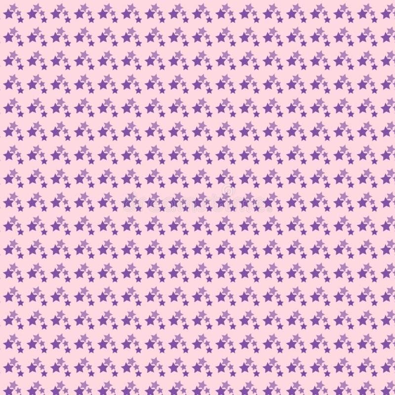 在一个浅粉红色的背景无缝的淡色样式的紫罗兰色星 免版税库存图片