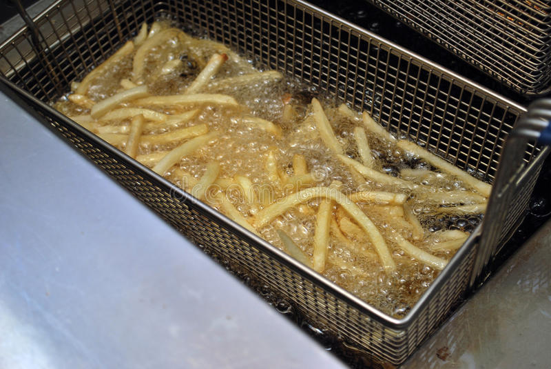 在一个深炸锅的炸薯条 免版税库存照片