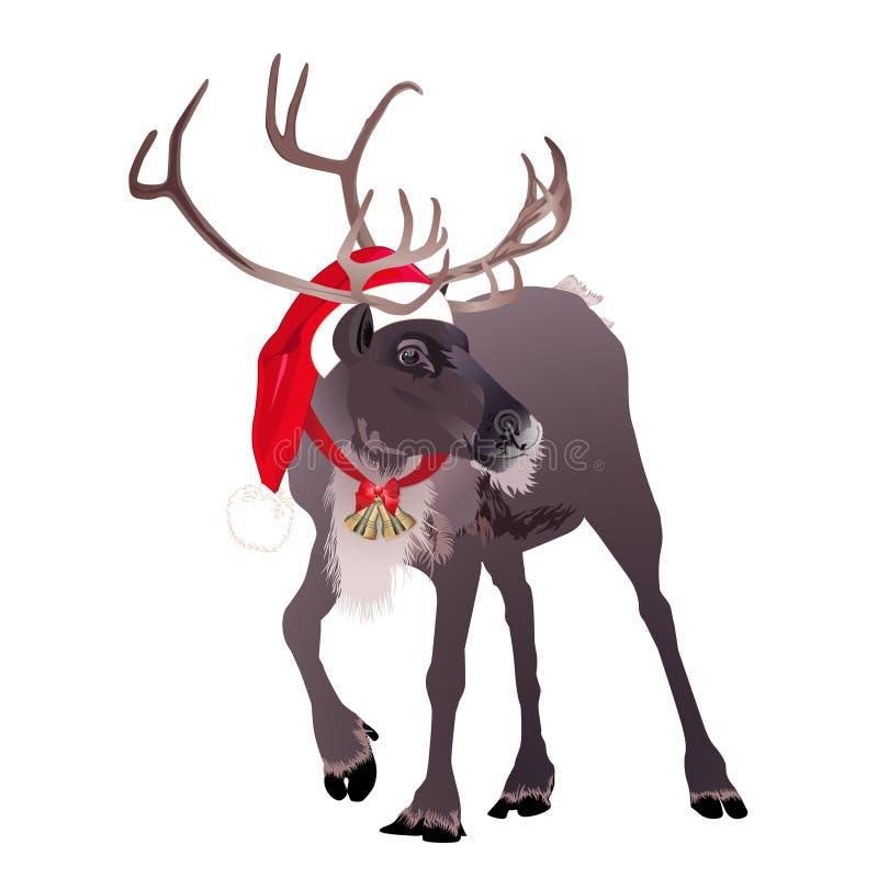在一个滑稽的圣诞老人` s红色盖帽的鹿 也corel凹道例证向量 库存例证