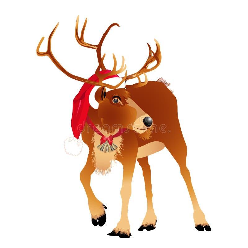 在一个滑稽的圣诞老人` s红色盖帽的鹿 也corel凹道例证向量 向量例证