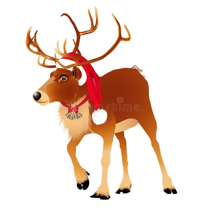 在一个滑稽的圣诞老人` s红色盖帽的鹿 看板卡圣诞节新年度 也corel凹道例证向量 库存例证