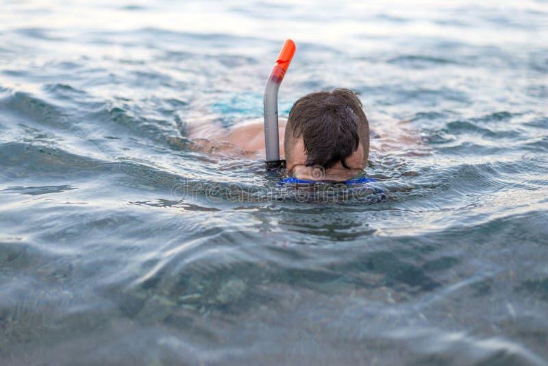 在一个潜水的面具的年轻人游泳 免版税库存照片