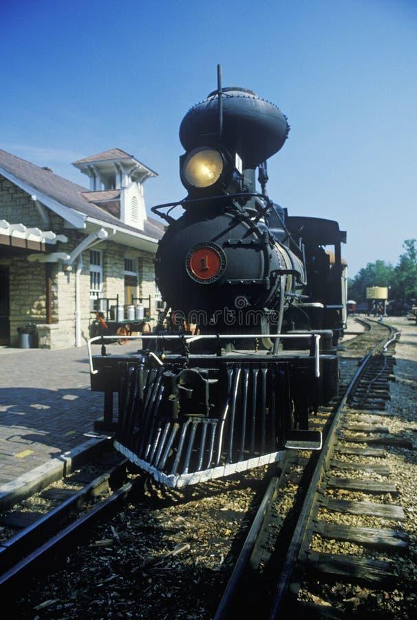 在一个火车站的蒸汽引擎在尤里卡斯普林斯,阿肯色 库存照片