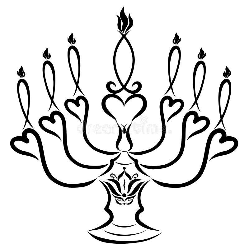 在一个烛台的七个蜡烛有心脏和花的,象征主义 向量例证