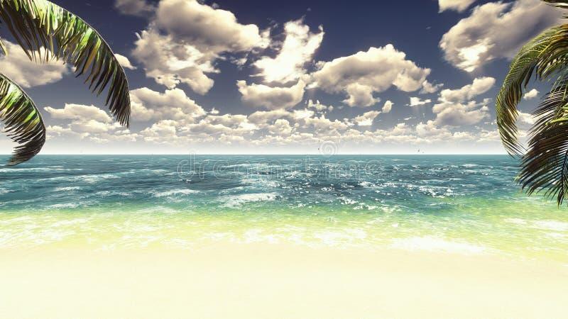 在一个热带海岛上的棕榈树有蓝色海的和美丽的海滩在一好日子 掌上型计算机场面夏天星期日通知 3d翻译 皇族释放例证