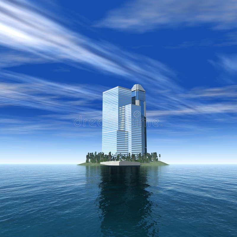 在一个热带海岛,一个美丽的大厦,天空背景的摩天大楼上的摩天大楼 皇族释放例证