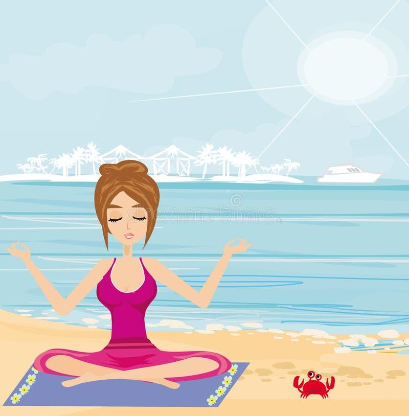 在一个热带海滩的瑜伽 库存例证