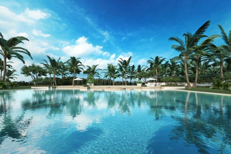 在一个热带设置的手段样式大游泳池 免版税库存图片