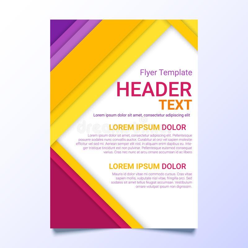在一个物质设计样式的飞行物模板 现代海报企业模板 与五颜六色的文本的小册子模板 皇族释放例证