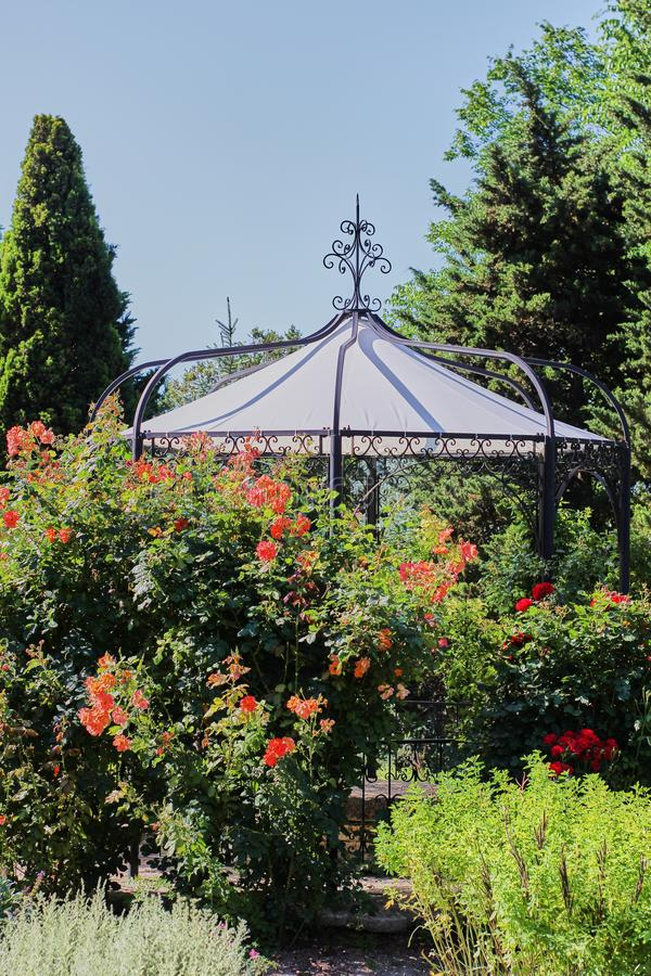 在一个玫瑰丛后的公园眺望台 免版税库存照片
