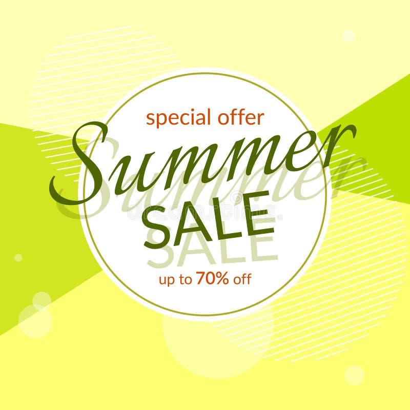 在一个现代几何背景夏天明亮的颜色的圆的横幅夏天销售特殊折扣70%设计模板 皇族释放例证