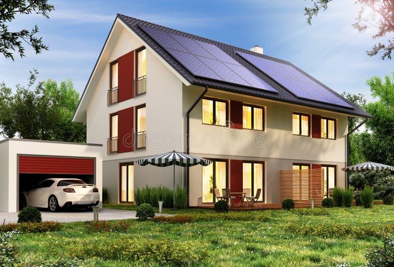 在一个现代房子的屋顶的太阳电池板有车库和汽车的 库存照片