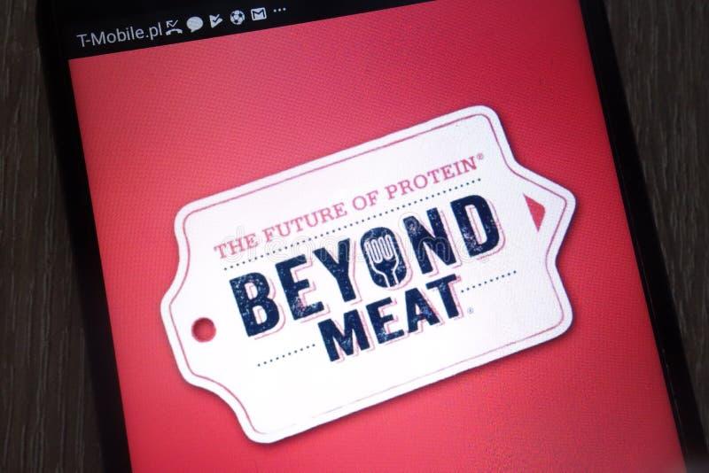 在一个现代智能手机显示的肉商标之外 免版税库存图片