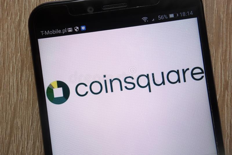 在一个现代智能手机显示的Coinsquare商标 免版税图库摄影