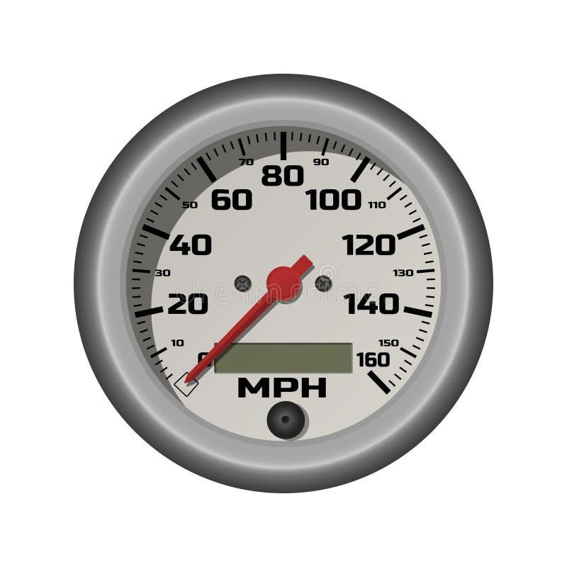 在一个现实样式的汽车车速表 减速火箭的汽车的测量仪器 3D查出的图象 向量例证