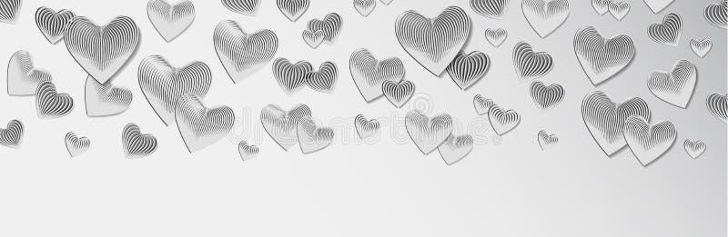 在一个现实样式网页的,在白色背景的设计的凸面,长篇3D心脏 库存例证