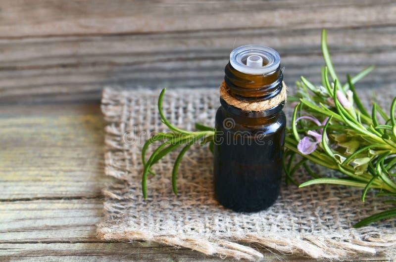 在一个玻璃吸管瓶的罗斯玛丽精油用在老木桌上的新鲜的绿色迷迭香草本温泉、芳香疗法和身体的 库存图片