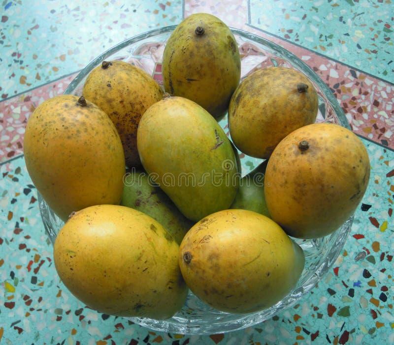 在一个玻璃罐的成熟芒果 库存图片