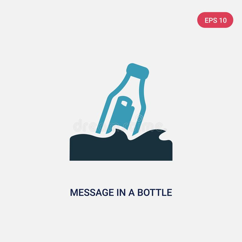 在一个瓶传染媒介象的两种颜色的消息从船舶概念 在瓶传染媒介标志标志的被隔绝的蓝色消息可以是用途 向量例证