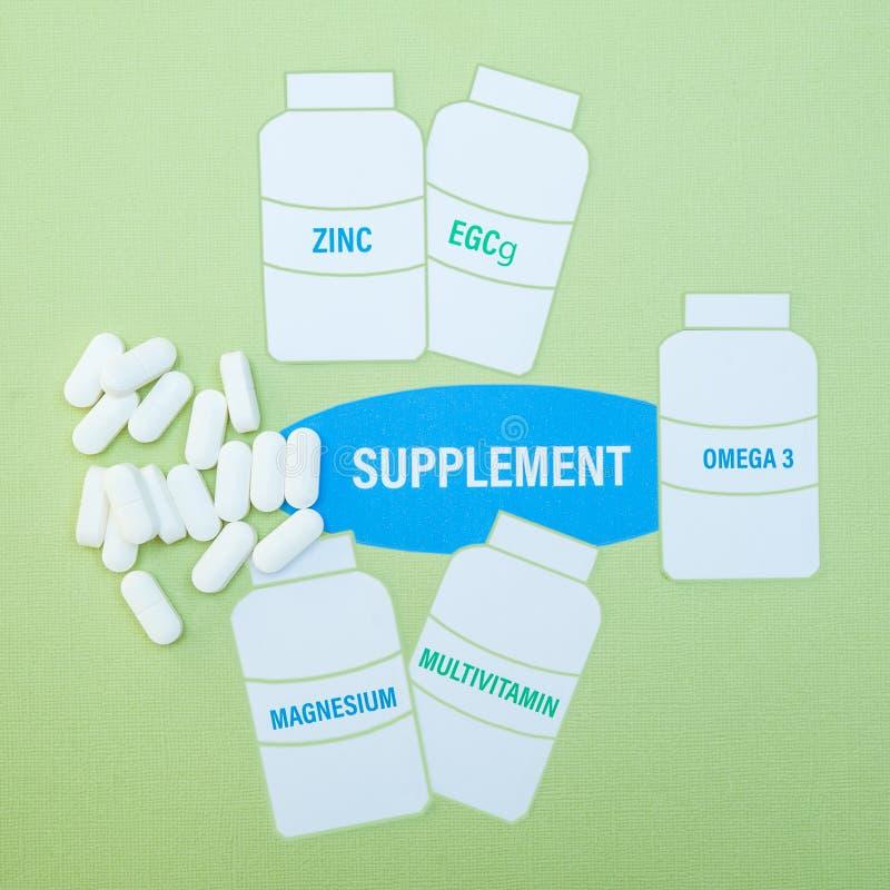 在一个瓶的补充在绿色背景,保健品概念关闭, 图库摄影