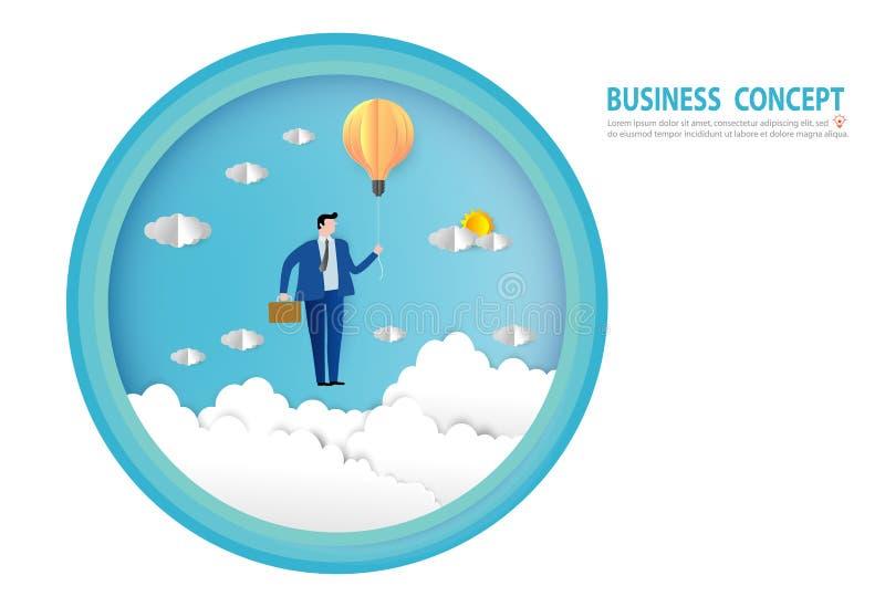 在一个电灯泡气球的商人飞行,目标,成功,纸艺术样式,人企业概念传染媒介平的设计 皇族释放例证
