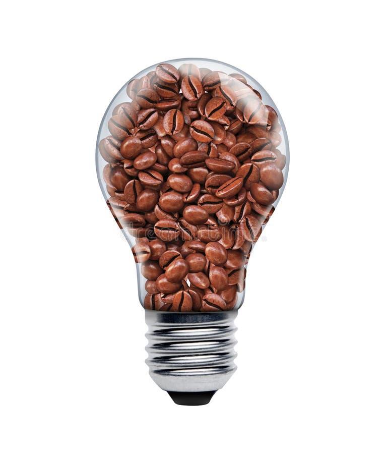 在一个电灯泡的咖啡种子 库存图片