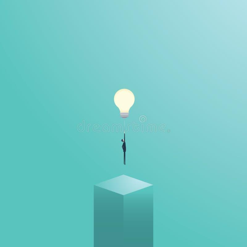 在一个电灯泡的商人飞行作为企业创造性的标志 创造性的解答传染媒介概念 皇族释放例证